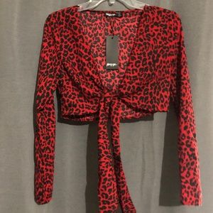 Nasty gal red leopard print tie front blouse